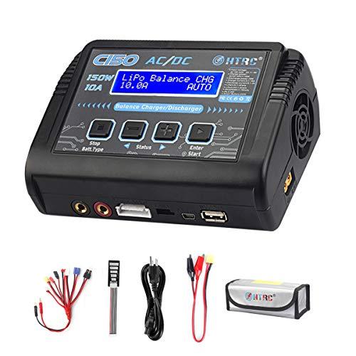 HTRC LiPo Charger RC Battery Balance Discharger 150W 10A 1-6S AC/DC C150 for NiCd Li-ion Life NiMH LiHV PB Smart Battery (Black)