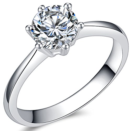 1.0 Carat Classical Stainless Steel Solitaire Engagement Ring (Silver, 4)