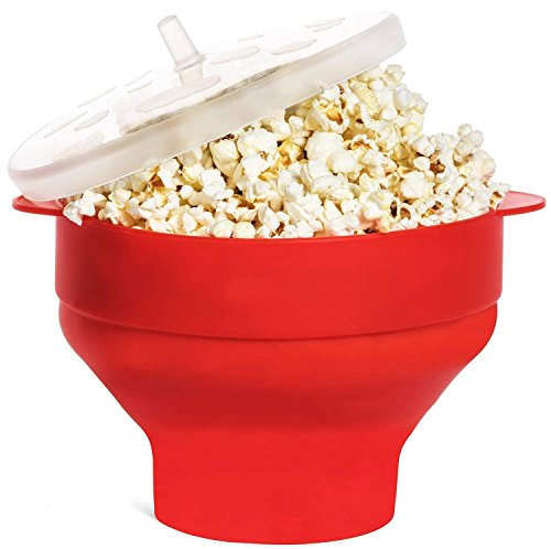 Microwave Popcorn Popper Collapsible Popcorn Maker Bowl Silicone Hot Air Pop Corn Bowl with Lid and Convenient Handles Gift for Independence Day - Red