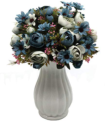CATTREE Artificial Peony Bud Mixed Flowers, Plastic Plants Silk Fake Flowers Bouquet Bridal Home Garden Office Kitchen Bathroom Table Centerpieces Wedding Decor Decorations 4 pcs - Blue