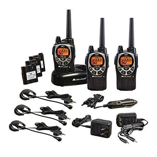 Midland - GXT1000VP4, 50 Channel GMRS Two-Way Radio - Up to 36 Mile Range Walkie Talkie, 142 Privacy Codes, Waterproof, NOAA Weather Scan + Alert (3 Pack) (Black/Silver)