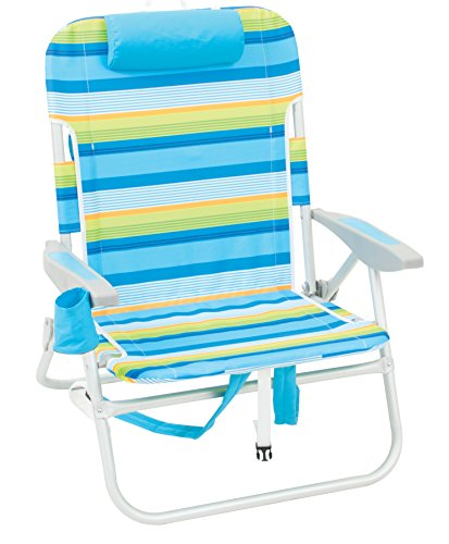 Rio Beach Big Boy Folding 13 Inch High Seat Backpack Beach or Camping Chair, Blue/Green Stripe