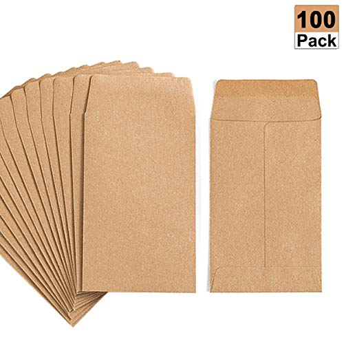 100 Pack Kraft Small Coin Envelopes Self-Adhesive Kraft Seed Envelopes Mini Parts Small Items Stamps Storage Packets Envelopes for Garden, Office or Wedding Gift(2.25'3.5')