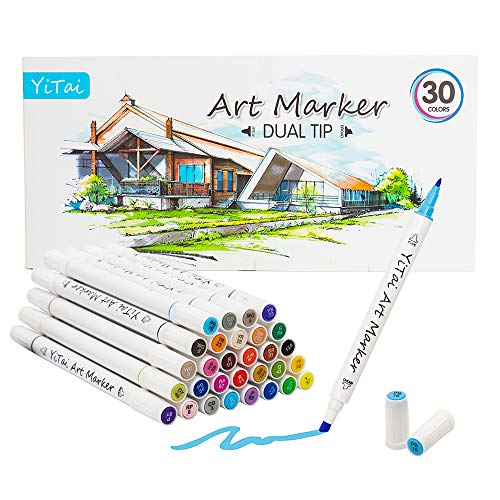 Art Markers,30 Colors Dual Tip Alcohol Marker, Permanent Art Markers for Kids, Highlighter Pen Sketch Markers for Drawing Sketching Adult Coloring, Excellent for Adults Kids