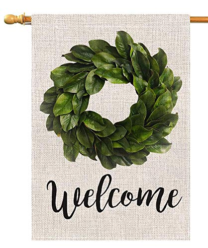 BLKWHT Welcome Magnolia Leaves Wreath House Flag Vertical Double Sided 28 x 40 Inch Farmhouse Summer Yard Outdoor Decor