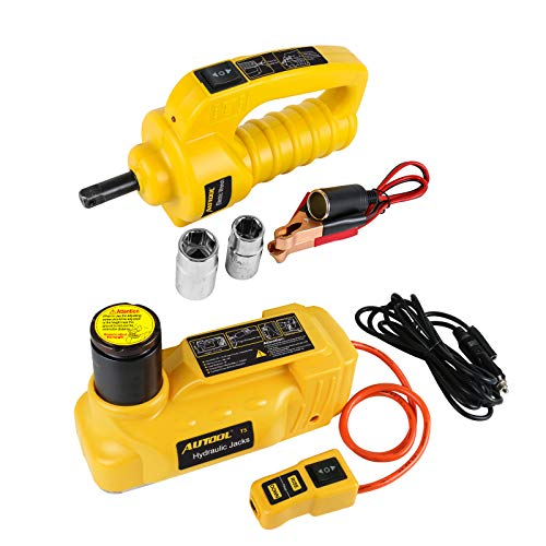Mrcartool AUTOOL 12V DC 6T Universal Electric Jack Set Electric Hydraulic Floor Jack-Tire Lift Kit with Electric Impact Wrench for Car,Sedan,Van,SUV,Trucks
