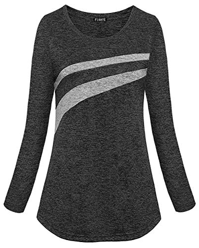 FINMYE Black Sport Shirts for Women, Black Active Wear Shirt Workout Clothing Yoga Tee Shirts Wicking Light Weight Breathable Running Pilates Tshirt Gym Unisex Primary Black XL