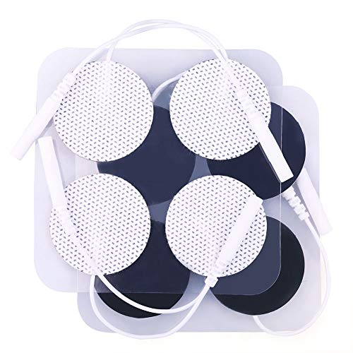 TENS Unit Pads, 40PCS Round Electrodes Pads, Reusable Carbon Electrotherapy Pads for EMS Muscle Stimulator, 1.25 Inches Diameter