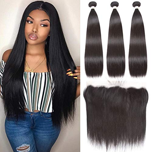 Beauhair Brazilian Straight Hair 3 Bundles With Frontal Closure(20 22 24+18Frontal) 13x4 Ear to Ear Lace Frontal Closure With Bundles Unprocessed Virgin Human Hair Bundles With Frontal Natural Color
