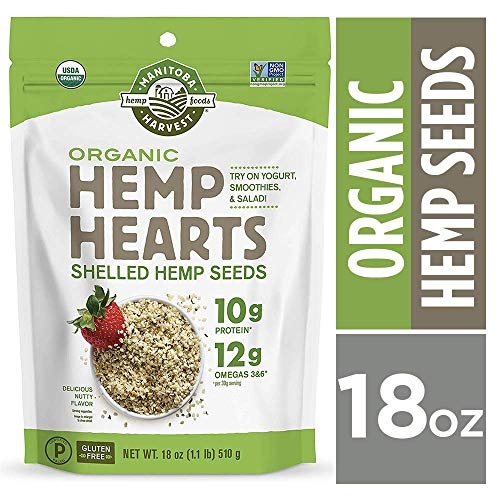 Manitoba Harvest Organic Hemp Hearts Raw Shelled Hemp Seeds, 18oz; with 10g Protein & 12g Omegas per Serving, Whole 30 Approved, Keto Friendly, Non-GMO, Gluten Free