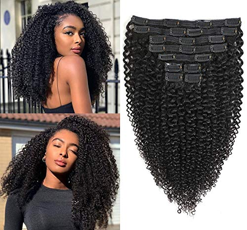 Kinky Curly Clip in Human Hair Extensions Brazilian 8A Grade Human Hair for Women Real Soft Thick Afro Kinky Curly Hair Clip Ins 3c 4a,Blends Well,Natural Black Color,10/Pcs,120 Gram,16 Inch
