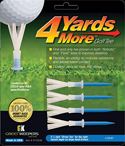 Green Keepers 4 Yards More Golf Tee , 3 1/4 Inch, Blue, 4 Count (Pack of 1)