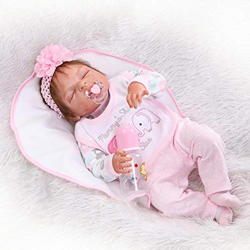 OCSDOLL 23 lnch Eye Closed Full Body Silicone Reborn Baby Dolls That Look Real Sleeping Lifelike Baby Doll Soft Touch Handmade Anatomically Correct Baby Girl Doll