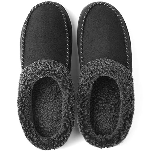 ULTRAIDEAS Men's Cozy Memory Foam Moccasin Suede Slippers with Fuzzy Plush Wool-Like Lining, Slip on Mules Clogs House Shoes with Indoor Outdoor Anti-Skid Rubber Sole(Black, 11-12)