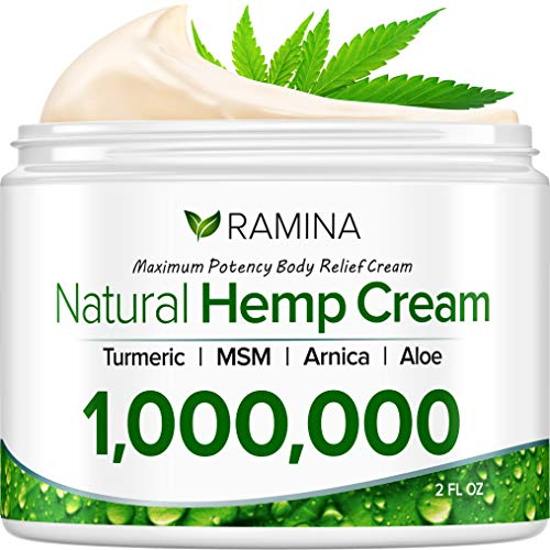 Ramina Natural Hemp Extract Pain Relief Cream - 1,000,000 - Turmeric, MSM & Arnica - Relieves Inflammation, Muscle, Joint, Back, Knee, Nerves & Arthritis Pain - Made in USA - Non-GMO