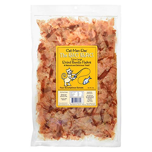 Cat-Man-Doo Extra Large Dried Bonito Flakes Treats for Dogs & Cats - All Natural High Protein Flakes - 4oz. / 112g Bag
