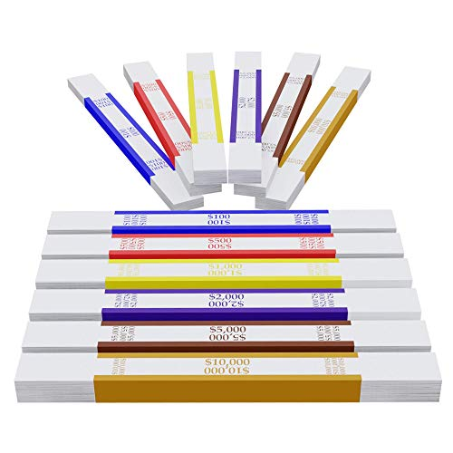 Self Sealing Currency Straps Money Bill 6 Colors 600 Pieces