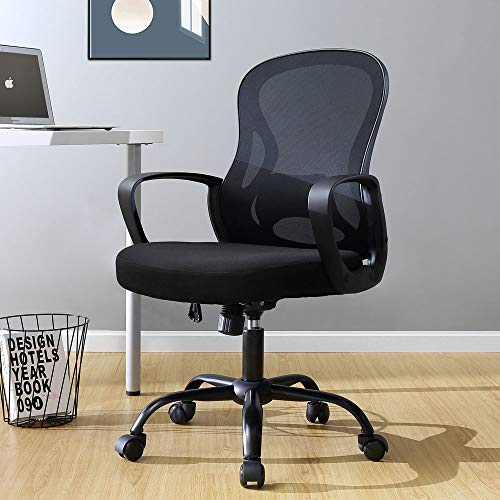 BERLMAN Ergonomic Mid Back Mesh Office Chair Adjustable Height Desk Chair Swivel Chair Computer Chair with Armrest Lumbar Support (Black)