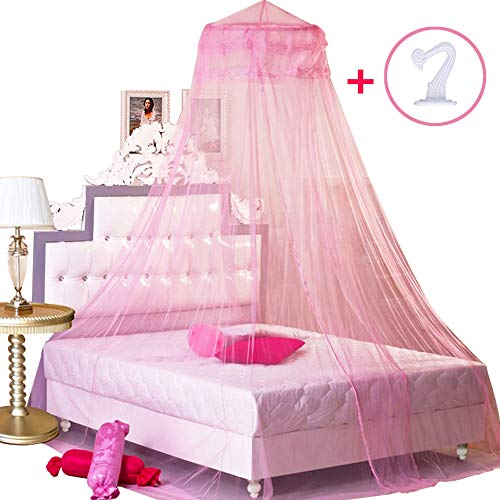 BCBYou Pink Princess Bed Canopy Netting Mosquito Net Round Lace Dome for Twin Full and Queen Size Beds Crib with Jumbo Swag Hook