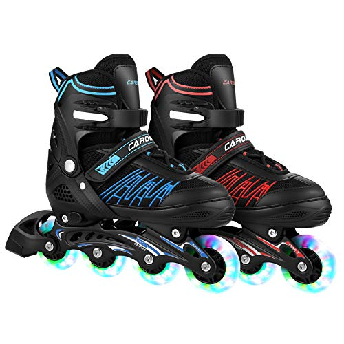 Caroma Inline Skates Skating Shoes for Beginner Sports Indoors and Outdoors Recreation Fitness for Children,Men and Women Roller Skates (Blue, M(US 2-5))