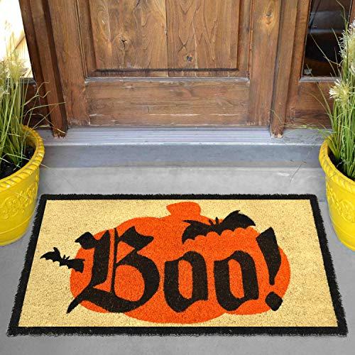 """Halloween Boo Doormat 30"""" x 17""""; Natural Coir Doorway Rugs for Trick or Treat Mat Decorations"""