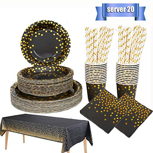 Black and Gold Party Supplies Golden Dot Disposable Tableware Serves 20- Dinner Plates,Salad Plates,Napkins,Paper Cups, Paper Straws,Tablecloth for Wedding,Anniversary,Birthday,Baby Shower