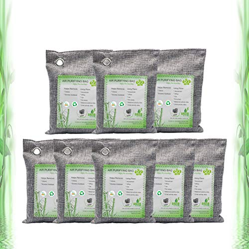 Activated Bamboo Charcoal Bags, Natural Air Purifying Fresheners,Moisture Remove for Home, Car, Closet, Bathroom (8Pack, 200g Each)