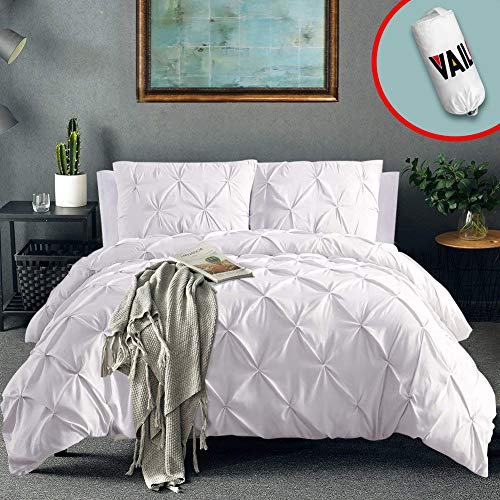 Vailge 3 Piece Pinch Pleated Duvet Cover with Zipper Closure, 100% 120gsm Microfiber Pintuck Duvet Cover, Luxurious & Hypoallergenic Pintuck Decorative(White, King)