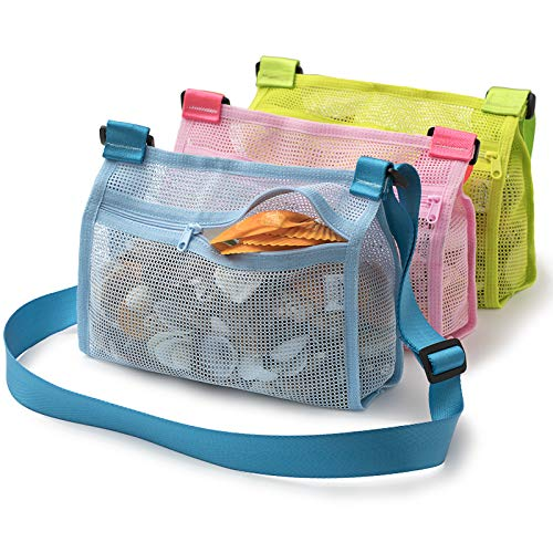 Tenrai Seashell Mesh Tote, Shell Bag, Beach Toy Bag, Toy Bags, Kids Sandboxes, Nets Bag (Blue & Pink & Green, 3 Packs)