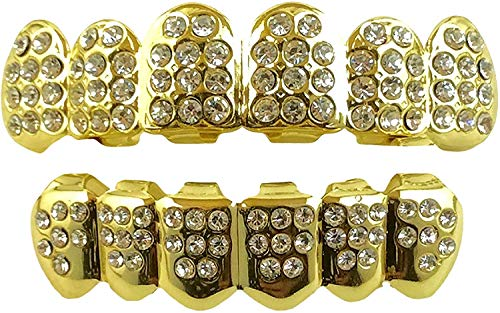 24K Plated Joker Gold Grillz for Mouth Top Bottom Hip Hop Teeth Grills for Teeth Mouth + 2 Extra Molding Bars, Storage Case + Microfiber Cloth (Gold CZ)
