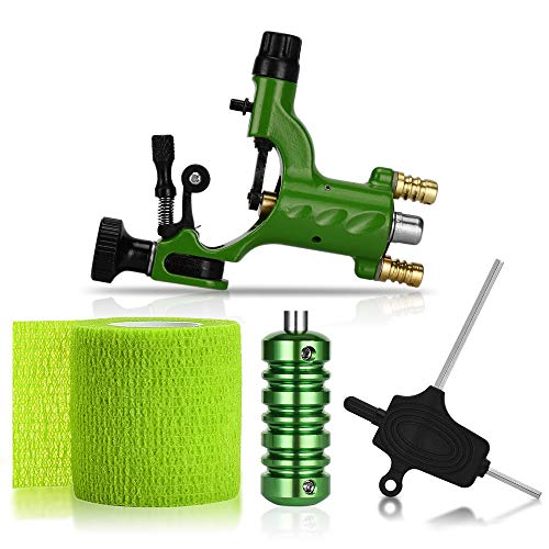 ATOMUS Rotary Tattoo Machine Gun Kit Professional Liner Shader Tattoo Motor Machine with Grip Tube Wrench Elastic Bandage Beginners Tattoo kit Tattoo Supplies (Green)