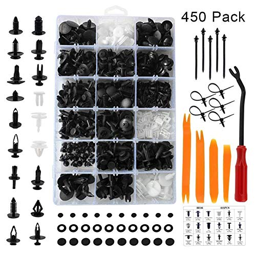 Car Body Clips, Auto Trim interior Fastener Retainers, Plastic Bumper Rivets Push in Type, Assorted for Fender Door Panel Dashboard Hood Insulation with Repair Tools (GM Ford Toyota Honda Chrysler)
