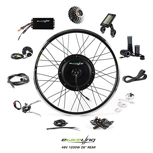 EBIKELING 48V 1200W 26' Direct Drive Rear Waterproof Electric Bicycle Conversion Kit (Rear/LCD/Twist)