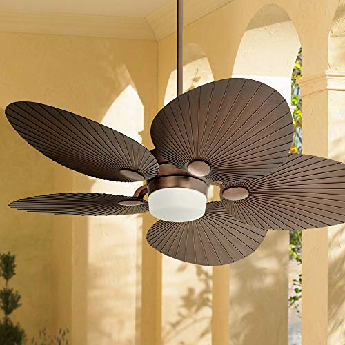 52' Casa Breeze Tropical Outdoor Ceiling Fan with Light LED Remote Control Oil Brushed Bronze Palm Leaf Damp Rated for Patio Porch - Casa Vieja