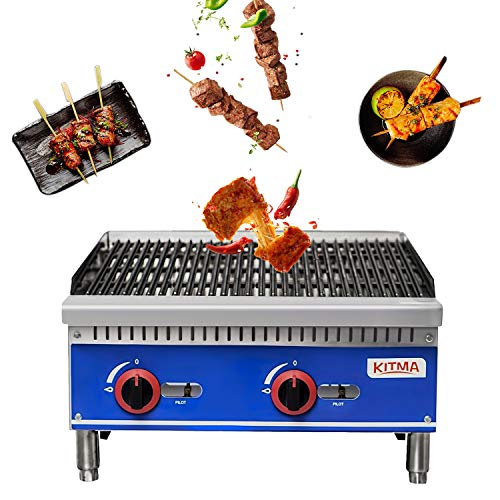 Commercial Countertop Charbroiler - KITMA 24' Lava Rock Charbroiler with Stainless Steel Gas Barbecue Grill - Restaurant Equipment BBQ, 70000 BTU