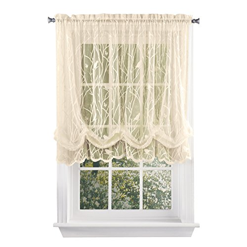 Collections Etc Songbird Shabby Chic Lace Balloon Shade Curtain with Rod Pocket Top, 56' W x 63' L, Ivory