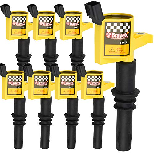 Bravex 8 Pack Straight Boot Ignition Coils 15% More Energy F-150 for Ford Lincoln Mercury V8 V10 4.6l 5.4l 6.8l Compatible with DG511 C1541 FD508-Upgrade (Yellow)