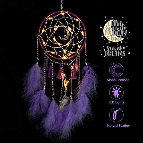 VVolf Dream Catchers Handmade with LED for Bedroom Wall Hanging Home Decor Ornaments Craft (Purple)