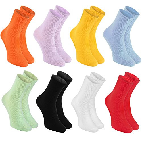 8 pairs of DIABETIC Non-Elastic Cotton Socks for SWOLLEN FEET, Colorful Mix S