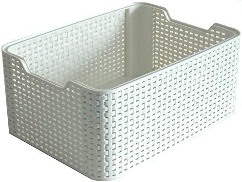 Curver Style Small Rectangular Storage Basket, Vintage White, 6 Litre