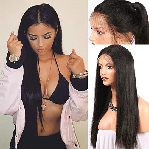 Natural Brazilian Full Lace Human Hair Wigs Glueless Full Lace Front Wig for Women Natural Hairline Black Color (26inch, Black)
