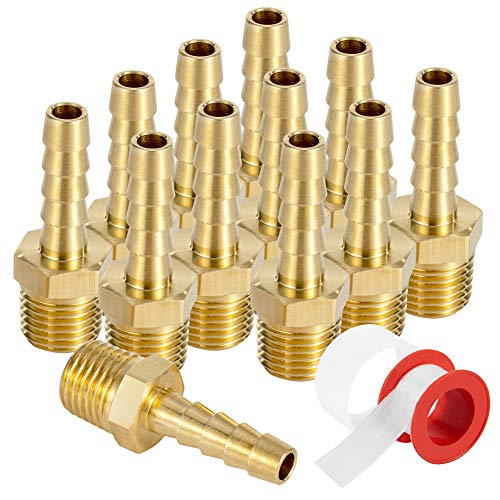 Brass 1/4' Barb X 1/4' NPT Male End Air Hose Pipe Fitting Threaded Connector Adapter, Pack of 12
