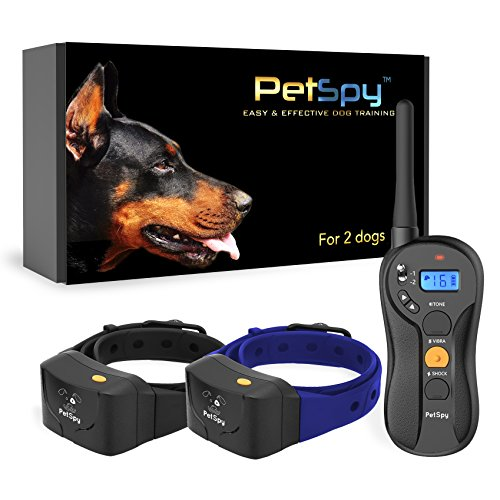 PetSpy P620B Dog Training Shock Collar for 2 Dogs with Vibration, Electric Shock, Beep; Fully Waterproof Remote Trainer with Two E-Collars, 10-140 lbs (for 2 Dogs)