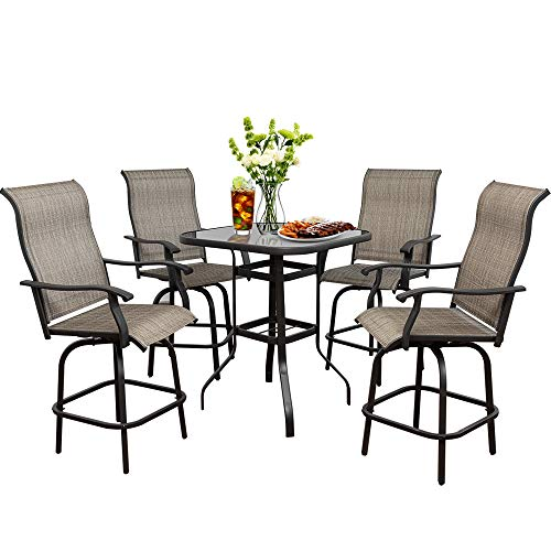 Suny Deals 5PCS Patio Swivel Bar Set, Outdoor Height Bistro Charis Set with 360 Degree Swivel Patio Bar Chairs and Bar Table, All Weather Steel Frame Furniture for Backyard,Garden (Chairs&Table Set)