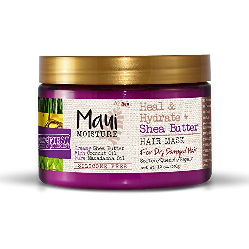 Maui Moisture Heal & Hydrate + Shea Butter Hair Mask, 12 Ounce, Silicone Free with Shea Butter and Coconut Oil, For Softer Feeling Hair with Fewer Visible Split Ends, Also Use as a Leave In Treatment
