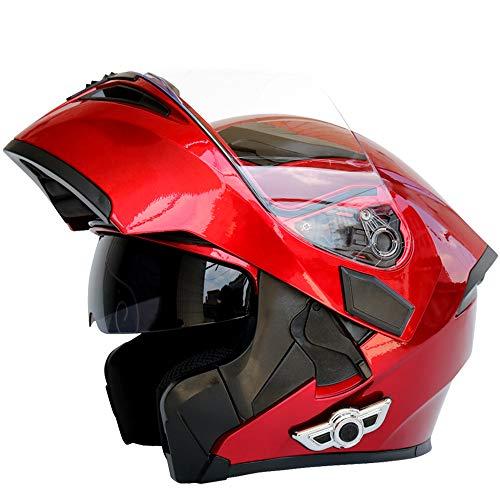 Shfmx Professional Modular Motorcycle Helmet Headset AIS Flip Travel Helmet,DOT/ECE Standard, Music 80 Hours, Hands-Free, Multi-Purpose, Off-Road Helmet,Red,XXL