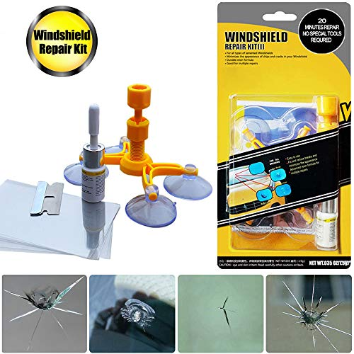 GLISTON Car Windshield Repair Kit for Chips and Cracks, Bulls-Eye, Star-Shaped, Nicks, Half-Moon Crescents