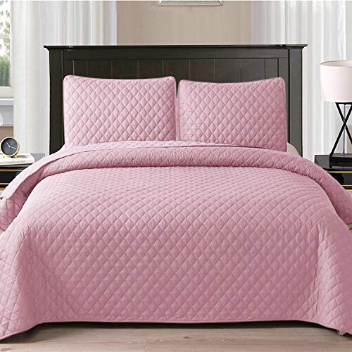 Exclusivo Mezcla Ultrasonic 2-Piece Twin Size Quilt Set with Pillow Shams, Lightweight Bedspread/Coverlet/Bed Cover - (Pink, 68' x88)