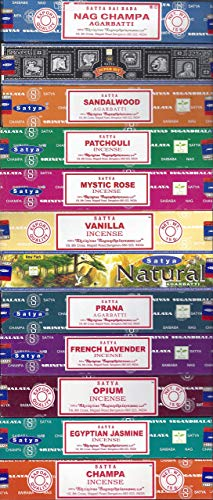 Satya Incense Set of 12 Nag Champa, Super Hit, Sandalwood, Patchouli, Mystic Rose, Vanilla, Prana, Natural, French Lavender, Opium, Egyptian Jasmine, Champa