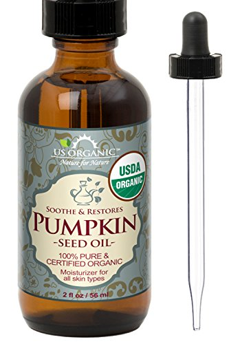 US Organic Pumpkin Seed Oil, USDA Certified Organic,100% Pure & Natural, Cold Pressed Virgin, Unrefined in Amber Glass Bottle w/Glass Eyedropper for Easy Application (Small (2 oz, 56 ml))